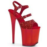 Červený 20 cm FLAMINGO-874 třpyt sandaly na platformě a podpatku