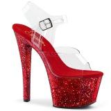 Červený 20 cm SKY-308LG třpyt boty na platformě a podpatku