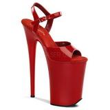 Červený 23 cm INFINITY-909 extrémně vysoké podpatky - extra platformou