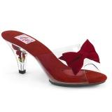 Červený 7,5 cm BELLE-301BOW Pinup pantofle s motýlek