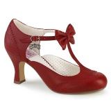 Červený 7,5 cm retro vintage FLAPPER-11 Pinup lodičky boty s nízkým podpatkem