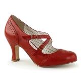 Červený 7,5 cm retro vintage FLAPPER-35 Pinup lodičky boty s nízkým podpatkem