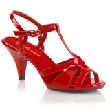 Červený 8 cm Fabulicious BELLE-322 dámské sandály na podpatku