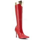 Červený 9,5 cm WONDER-130 vysoké kozačky na podpatku