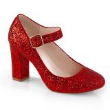 Červený 9 cm SABRINA-07 lodičky boty na tlustém podpatku