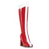 Červený Bílá 8 cm GOGO-305 Kolena Vysoké Boty Dámské