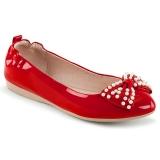 Červený IVY-09 balerínky ploché dámské boty s perly