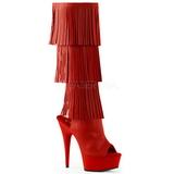 Červený Koženka 15 cm DELIGHT-2019-3 kozačky s třásněmi na podpatku