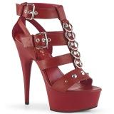 Červený Koženka 15 cm DELIGHT-658 pleaser boty na vysoké podpatky
