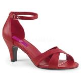 Červený Koženka 7,5 cm DIVINE-435 velké velikosti sandály dámské