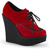 Červený Koženka CREEPER-302 klínové creepers boty platformě