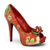 Červený Květinový 13 cm LOLITA-11 dámské boty na vysokém podpatku