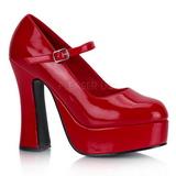 Červený Lak 13 cm DOLLY-50 Mary Jane Platformě Lodičky Dámské