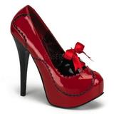 Červený Lak 14,5 cm Burlesque BORDELLO TEEZE-01 Platformě Lodičky Dámské