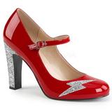 Červený Lakovaná 10 cm QUEEN-02 velké velikosti lodičky obuv