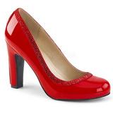 Červený Lakovaná 10 cm QUEEN-04 velké velikosti lodičky obuv