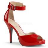 Červený Lakovaná 12,5 cm EVE-02 velké velikosti sandály dámské