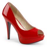Červený Lakovaná 13,5 cm CHLOE-01 velké velikosti lodičky obuv