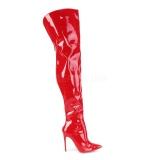 Červený Lakovaná 13 cm COURTLY-3012 Pleaser Kozačky Nad Kolena