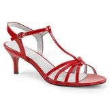 Červený Lakovaná 6 cm KITTEN-06 velké velikosti sandály dámské