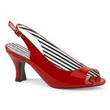Červený Lakovaná 7,5 cm JENNA-02 velké velikosti sandály dámské