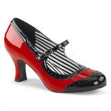 Červený Lakovaná 7,5 cm JENNA-06 velké velikosti lodičky obuv
