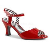 Červený Lakovaná 7,5 cm JENNA-09 velké velikosti sandály dámské