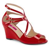 Červený Lakovaná 7,5 cm KIMBERLY-04 velké velikosti sandály dámské