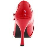 Červený Lakované 12 cm CUTIEPIE-08 Platformě Lodičky Open Toe