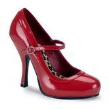 Červený Lakované 12 cm rockabilly PRETTY-50 Vysoké lodičky na podpatky
