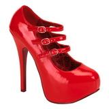 Červený Lakované 14,5 cm Burlesque TEEZE-05 dámské boty na vysokém podpatku
