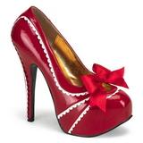 Červený Lakované 14,5 cm Burlesque TEEZE-14 dámské boty na vysokém podpatku