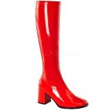 Červený Lakované 7,5 cm GOGO-300 Dámské Kozačky pro Muže