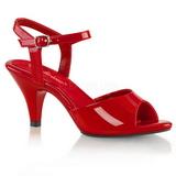 Červený Lakované 8 cm BELLE-309 sandály vysoký podpatek