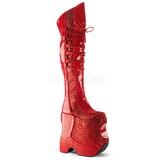 Červený Lesk 22 cm FABULOUS-3035 Kozačky Nad Kolena Drag Queen