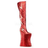 Červený Lesk 34 cm VIVACIOUS-3016 Kozačky Nad Kolena Drag Queen