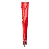 Červený Lesklý 13,5 cm INDULGE-3000 Kozačky Nad Kolena Platformě