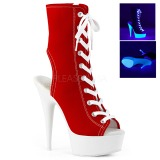 Červený Neon 15 cm DELIGHT-1016SK plátno tenisky na podpatku