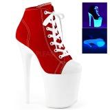 Červený Neon 20 cm FLAMINGO-800SK-02 plátno tenisky na podpatku
