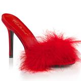 Červený Peří 10 cm CLASSIQUE-01F Pantofličky na Podpatku pro Muže