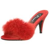 Červený Peří 8 cm AMOUR-03 Pantofličky na Podpatku pro Muže