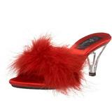Červený Peří 8 cm BELLE-301F Pantofličky na Podpatku pro Muže