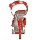 Červený Průhledný 15 cm CAPTIVA-609 Vysoké Podpatky Platformě