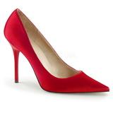 Červený Satén 10 cm CLASSIQUE-20 Lodičky Dámské Stiletto Podpatků