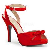 Červený Satén 12,5 cm EVE-01 velké velikosti sandály dámské