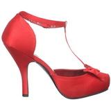 Červený Satén 12 cm retro vintage CUTIEPIE-12 Vysoké lodičky na podpatky