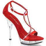 Červený Satén 13 cm LIP-156 Dámské Sandály Podpatky