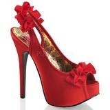 Červený Satén 14,5 cm Burlesque TEEZE-56 Platformě Sandály Podpatky