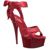 Červený Satén 15 cm DELIGHT-668 Večerní Sandály s podpatkem