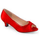 Červený Satén 5 cm FAB-422 velké velikosti lodičky obuv